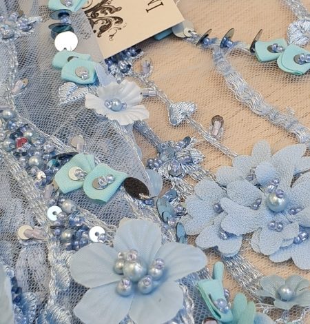 Blue 3D floral organic pattern on tulle fabric. Photo 3