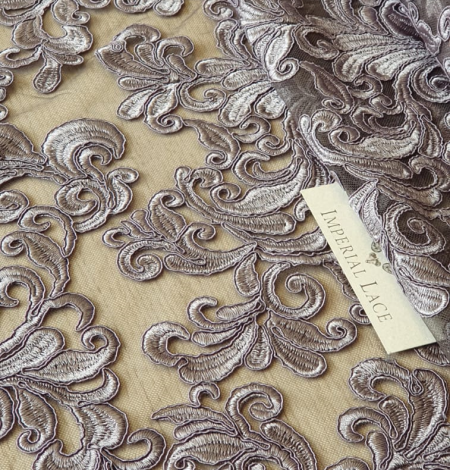 Grey embroidery lace fabric. Photo 6