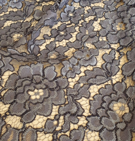 Grey floral pattern cord thread guipure lace fabric. Photo 4