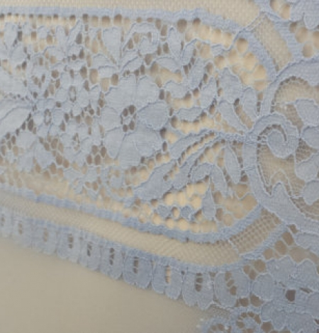 Blue chantilly lace fabric . Photo 1