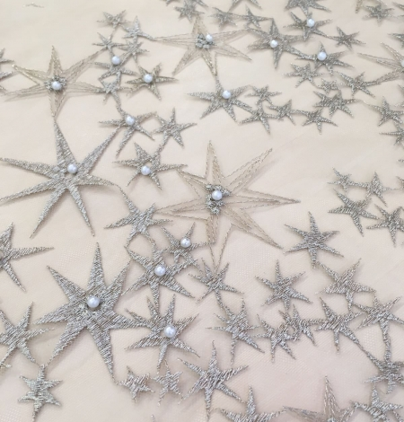 Gold star embroidery base tulle with pearl.. Photo 3