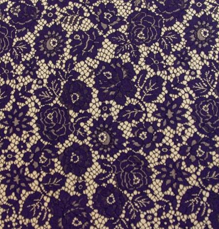 Dark purple floral guipure lace fabric . Photo 8