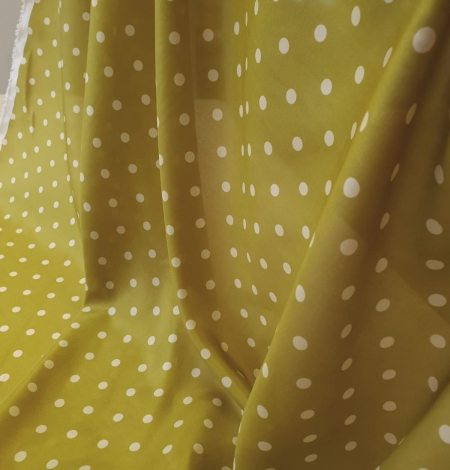 Olive green white dotted silk lining fabric. Photo 3