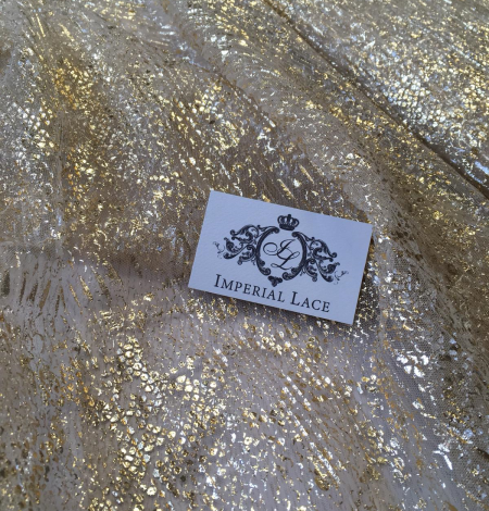 Nude pleated tulle fabric with gold spotting. Photo 6