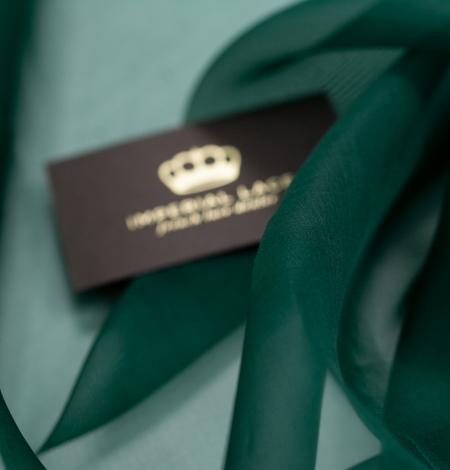 Emerald green silk organza fabric. Photo 4