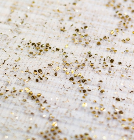 Light blue with gold foil crinkle tulle fabric . Photo 4