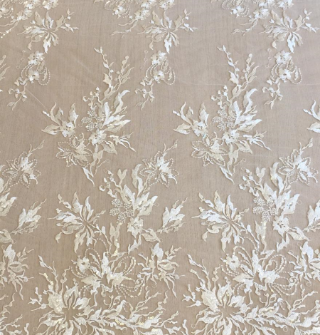 Ivory sequin embroidery lace fabric. Photo 3