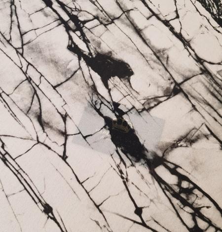 White and black marble pattern silk crepe chiffon fabric . Photo 6