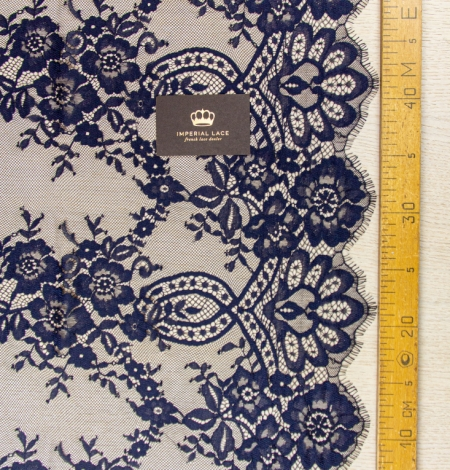 Dark blue floral pattern chantilly lace fabric. Photo 8