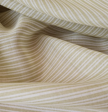 Green stripes with white viscose fabric. Photo 2
