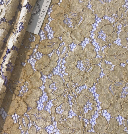 Olive with Purple Net Lace Fabric. Photo 1