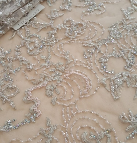 Beige beaded lace fabric. Photo 6