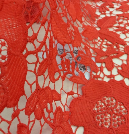Coral orange macrame lace fabric. Photo 1