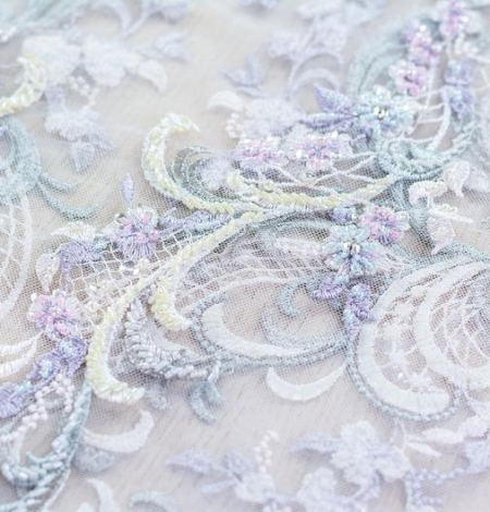 Greenish with purple embroidery on tulle fabric . Photo 5
