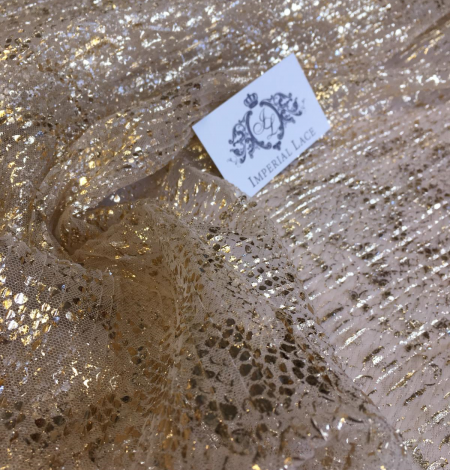 Nude pleated tulle fabric with gold spotting. Photo 8