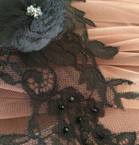Black applique with 3D flowers and crystals. Photo 2