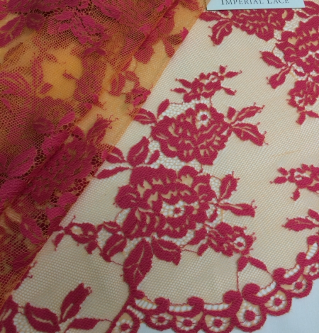 Orange and Fuchsia Color Lace Fabric. Photo 1