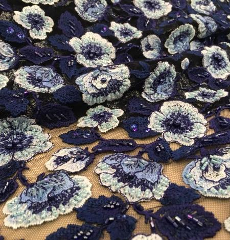 Multicolor beaded lace fabric. Photo 6