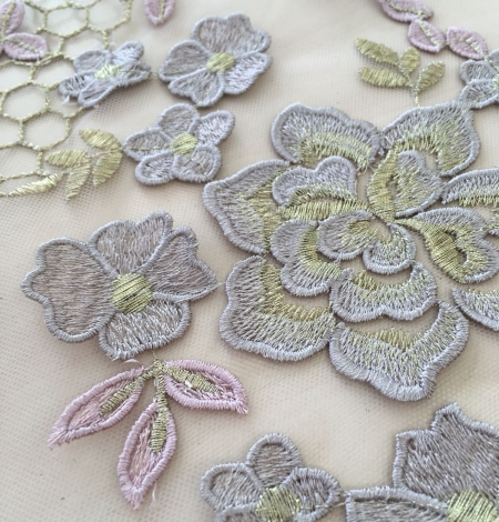 Nude embroidery tulle. Photo 2