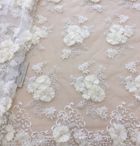 Ivory 3D beaded lace fabric. Photo 2