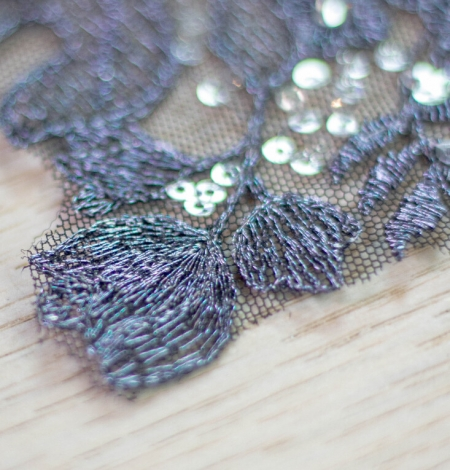 Dark grey 3D floral beaded lace applique 2 pcs set . Photo 5