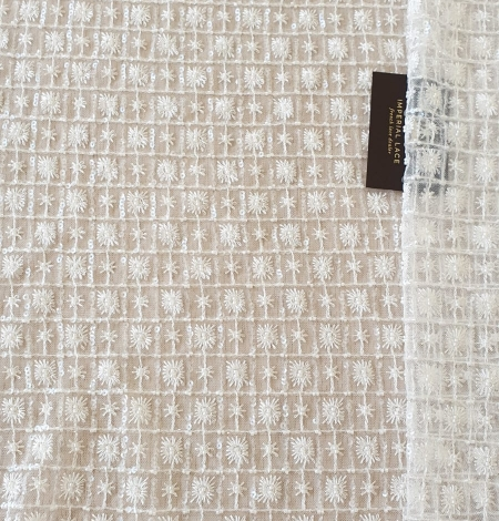 Ivory checkered floral beaded lace fabric. Photo 9