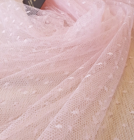 Light pink dotted tulle fabric. Photo 11