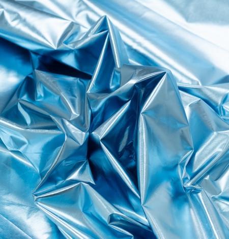 Blue color shiny rain coat fabric. Photo 5