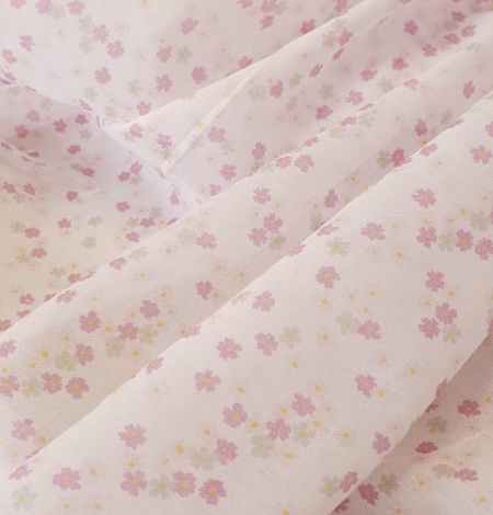 Light pink floral pattern thin batiste fabric. Photo 2