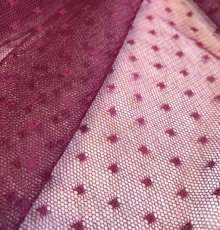 Wine red tulle fabric with dots. Photo 3