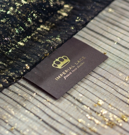 Black crinkle tulle fabric with gold foil. Photo 1