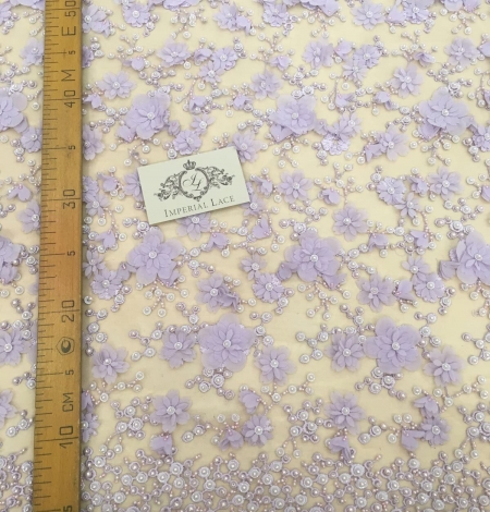 Purple beaded 3D floral lace fabric. Photo 5