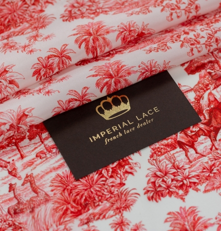 Red with orange shade printed silk crepe fabric. Photo 1
