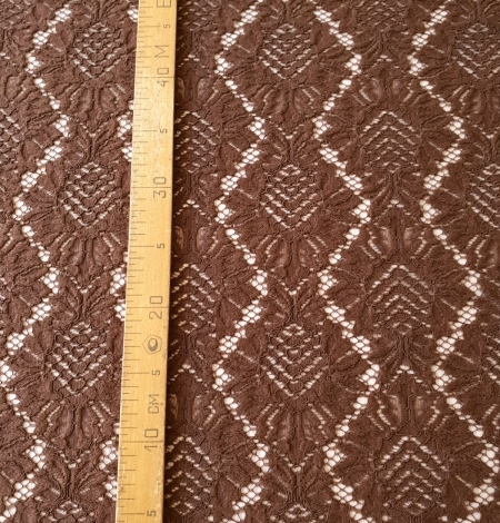 Brown floral guipure lace fabric. Photo 7