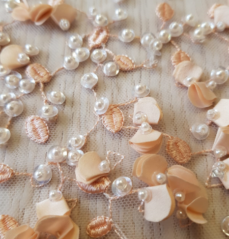 Peach color 3D beaded lace fabric. Photo 8