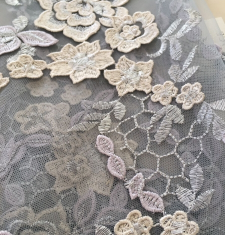 Greyish blue embroidery on tulle fabric. Photo 5