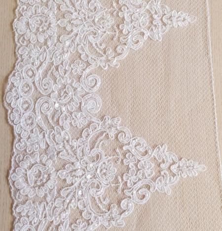 White Alencon lace fabric. Photo 4