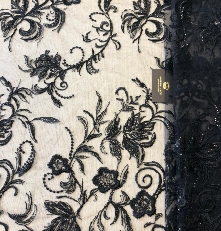 Black beaded romantic embroidery on tulle fabric. Photo 1