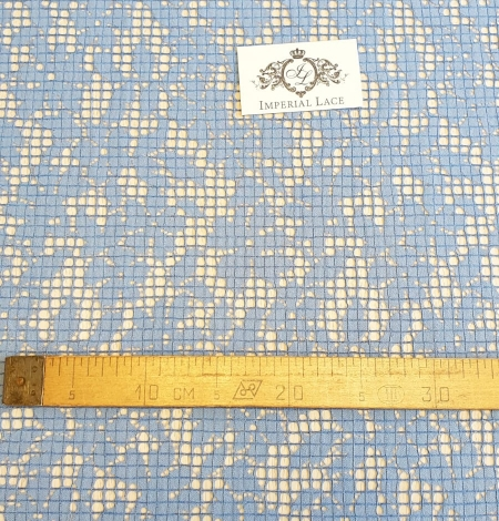 Blue floral guipure lace fabric. Photo 7