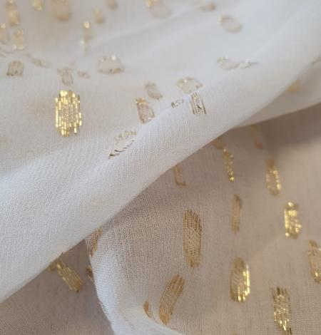 Ivory with gold dots silk crepe chiffon fabric. Photo 10