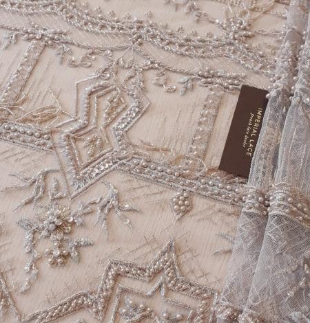 Beigish gray geometric with hanging details beaded lace fabrics. Photo 1