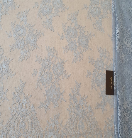 Bluish grey floral pattern chantilly lace fabric. Photo 4