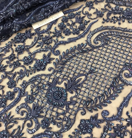Blue 3D beaded lace fabric. Photo 3