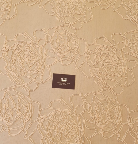 Light peach color big floral pattern thick thread embroidery on tulle fabric. Photo 8