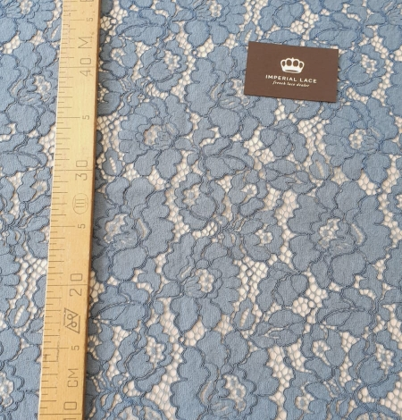 Bluish gray guipure lace fabric. Photo 10