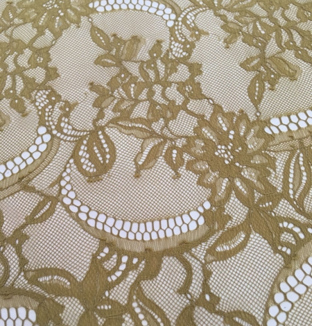 Khaki green lace fabric. Photo 3