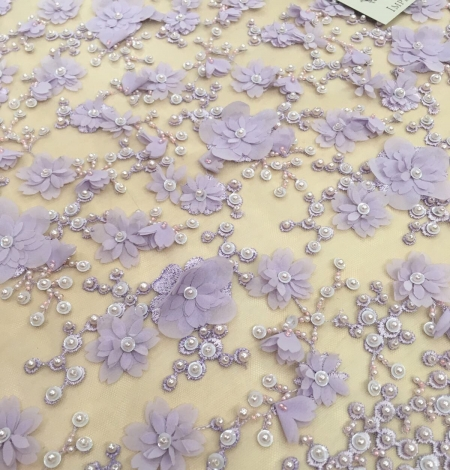 Purple beaded 3D floral lace fabric. Photo 3