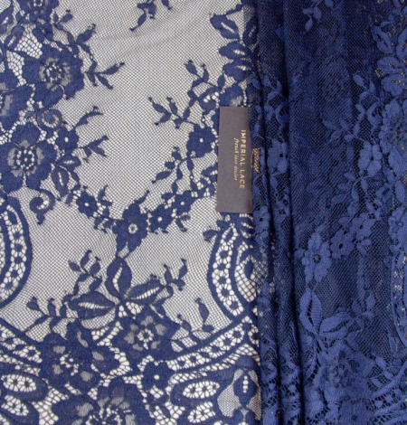 Dark blue floral pattern chantilly lace fabric. Photo 1