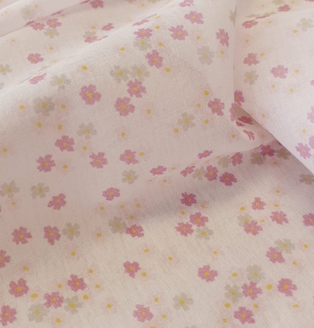 Light pink floral pattern thin batiste fabric. Photo 4