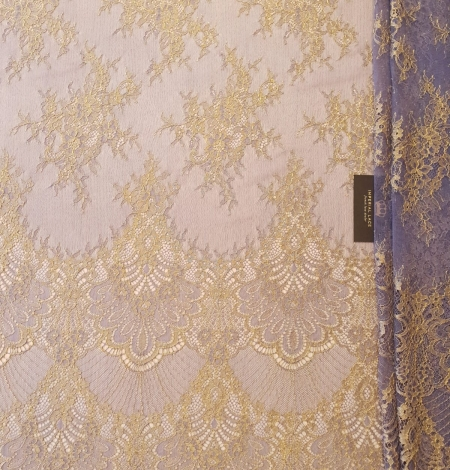 Purple with gold chantilly lace fabric. Photo 6